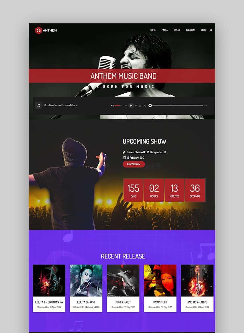 Anthem music and band blog WordPress theme