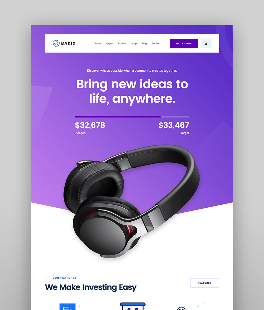 Bakix - Crowdfunding Startup Fundraising WordPress Theme