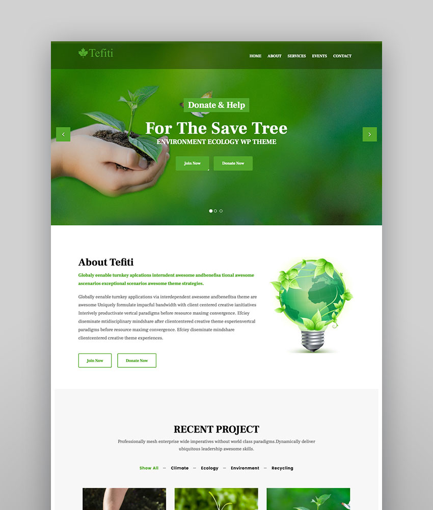 Tefiti - Environment  Ecology WordPress Theme