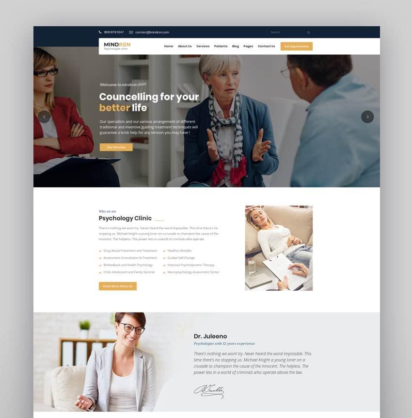 Mindron - Psychology  Counseling WordPress Theme