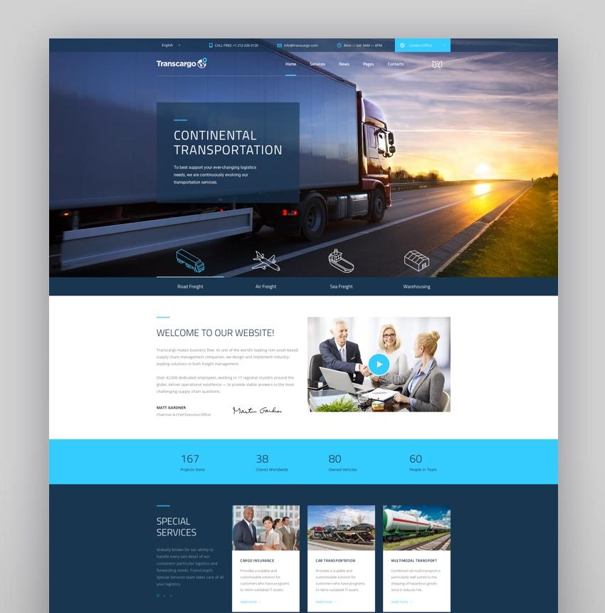 Transcargo - Transportation WordPress Theme for Logistics